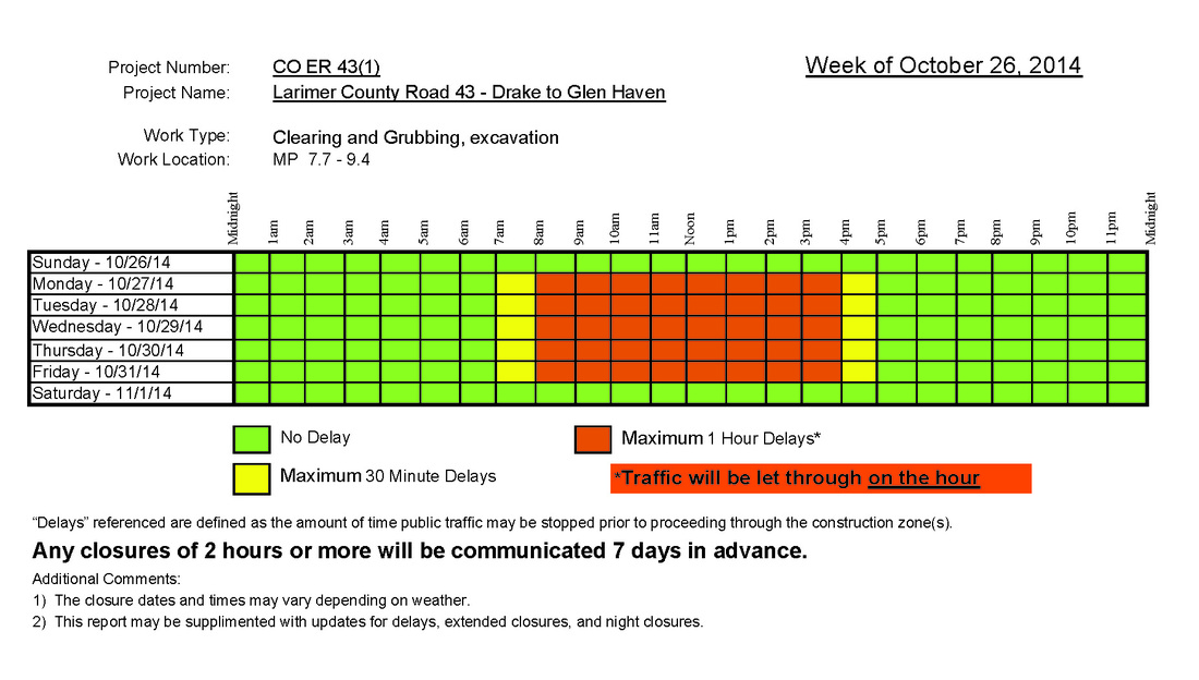 CR 43 Road Construction Schedule Larimer County Long Term Recovery